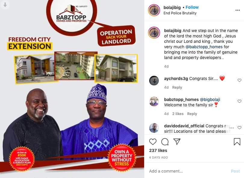 Big Bolaji joins Babztopp Homes & Properties 'Operation Sack Your Landlord' movement