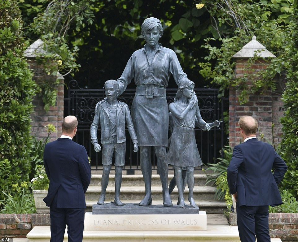 Prince Harry and Prince William arrive at Princess Diana statue unveiling