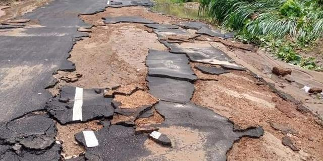 Flood damages road in Edo community 2 months after construction