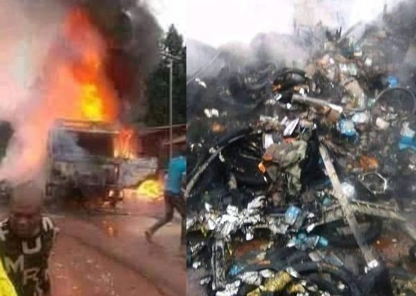Hoodlums sets fire to trailer containing spare parts for disobeying IPOB's sit-at-home order